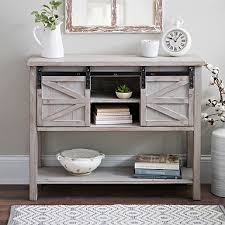 barn door side table sliding door farmhouse console table kirklands