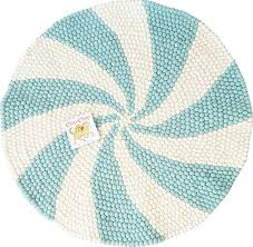 blue u0026 white round rug swirl rug feltball rug pompom rug