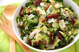 Bacon Main Dishes - brussels sprouts with bacon parmesan and dates thanksgiving