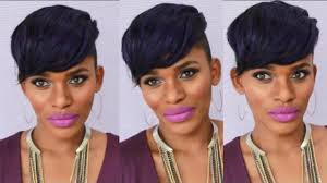 instant fab fringe shaved sides short hairstyle no glue no sew
