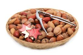 christmas nuts christmas basket with nuts and nutcracker stock photo image of