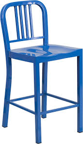 Patio Bar Chairs Outdoor Colorful Metal Counter Height Bar Stool 24 Inch Seat