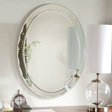 oval frameless bathroom vanity wall mirror with beveled edge scallop b