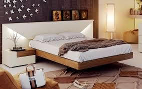 platform bedroom suites white lacquer on real walnut wood bed frame with lighted headboard