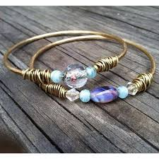 bangle bracelet diy images Diy hammered bangle with stone charm gem crystal jewelry selling jpg