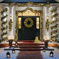 lighted christmas tree garland image result for front porch columns prelit outdoor garland
