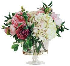 Fake Flower Centerpieces Garden Flowers In Glass Flower Arrangement Transitional
