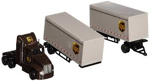 new volvo tractor trailers for sale amazon com daron ups die cast tractor with 2 trailers toys u0026 games