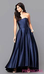 high low strapless designer prom dress promgirl