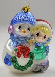 enesco precious moments with snowman blown glass ornament