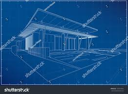 Blueprint Of A House Abstract Wireframe Blueprint 3d Building Vector Stock Vector
