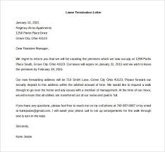 lease termination letter printable sample contract termination