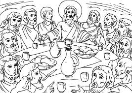 Depiction Of Last Supper Jesus And Disciples Coloring Page Last Supper Coloring Page