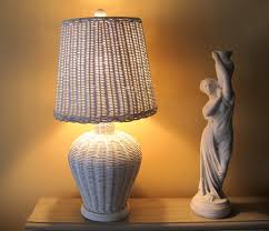 Home Decor Lamps by White Wicker Lamp And Lampshade Cottage Chic Vintage Lamp