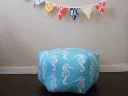 pouf seahorse fabric beach chic decor nautical floor