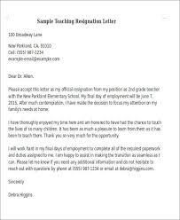 sample teaching resignation letters resignation letter sample