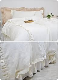 ruffle linen duvet cover set full king queen duvet cover u0026
