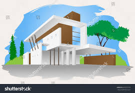 modern house simple architectural design modern stock vector