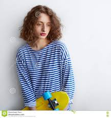 hipster hair for women pretty sad hipster girl holding a skateboard stock image image