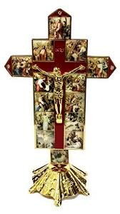 catholic crucifix catholic golden 14 station jesus cross statue enamel inri crucifix