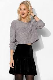 outfitters silence noise stitch cropped sweater in gray lyst