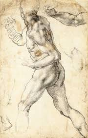 figure study of a running man painting by michelangelo buonarroti