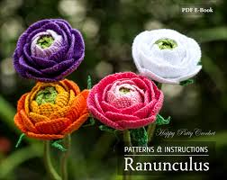 ranunculus flower crochet ranunculus pattern crochet flower pattern for