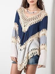 style blouse pancho style blouse sleeves macrame trim blue