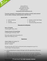 Cosmetology Resume Examples Beginners by Cosmetology Resume 15 2017 Sample For Cosmetologist Sample