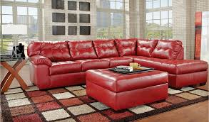 Leather Match Upholstery Ufi 9569 Bonded Leather Match Sectional In Natural And Cardinal