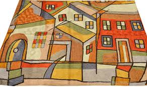 Miro 5ft X 7ft Wool by Modern Town Silk Rug Wall Tapestry Hand Embroidered 2ft X 3ft