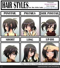 mikasa u0027s hairstyles which one suits her best anime attack on