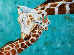 home decor giraffe adorable giraffe calf willow oil painting depicts mother embracing