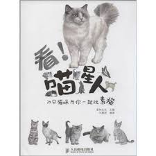 chinese pencil sketch lovely animal cat painting art book chinese