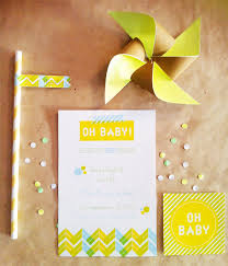 modern neon baby shower invitations decorations