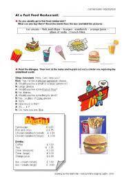 english teaching worksheets ordering food