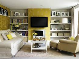 Yellow Fireplace by Living Room With Fireplace And Tv On Different Walls Elements Of