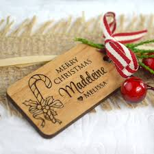 engraved christmas custom desgined wooden gift tags
