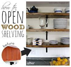 diy kitchen shelves that s my letter o is for open wood shelving storage