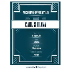 art deco wedding invitation card vector free download
