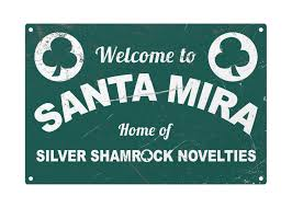 halloween welcome to santa mira metal movie sign arcane store
