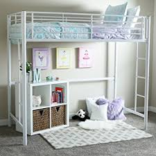 amazon com new twin over loft metal bunk bed with ladder white