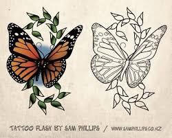 colorful and outline ink monarch butterfly stencil design