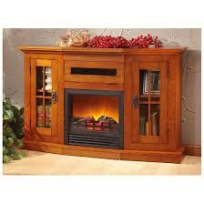 furniture brown oak wooden fireplace media cabinet with storage