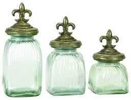 glass canisters kitchen polystone glass canister 15 13 11 3 set rustic