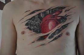 bio mechanical 3d on chest tattooshunt com