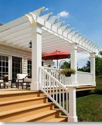 vinyl pergolas attached to house this white vinyl pergola kit
