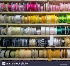 ribbon display haberdashery coloured ribbon ribbons display stock photo 53006949