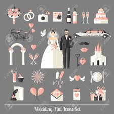 for your wedding wedding symbols set flat icons for your wedding design royalty