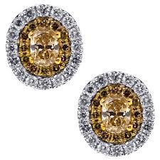 womens stud earrings canary diamond halo stud earrings 14k white gold 1 25 ct